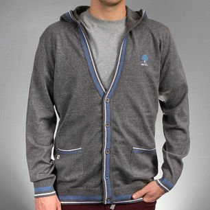 Sweater CARDIGAN HOOD heather gray
